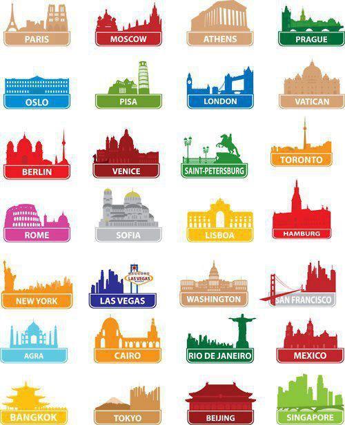 Ícones das cidades de todo o mundo