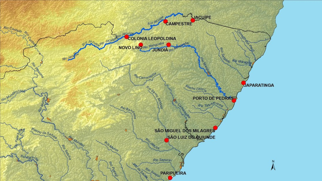 Resultado de imagem para mapa dos rios de alagoas